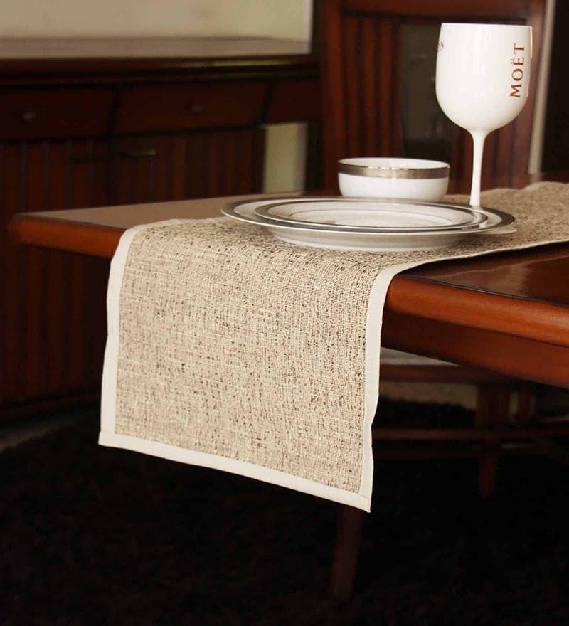 S9home by Seasons Plain Beige Polyester Table Runner