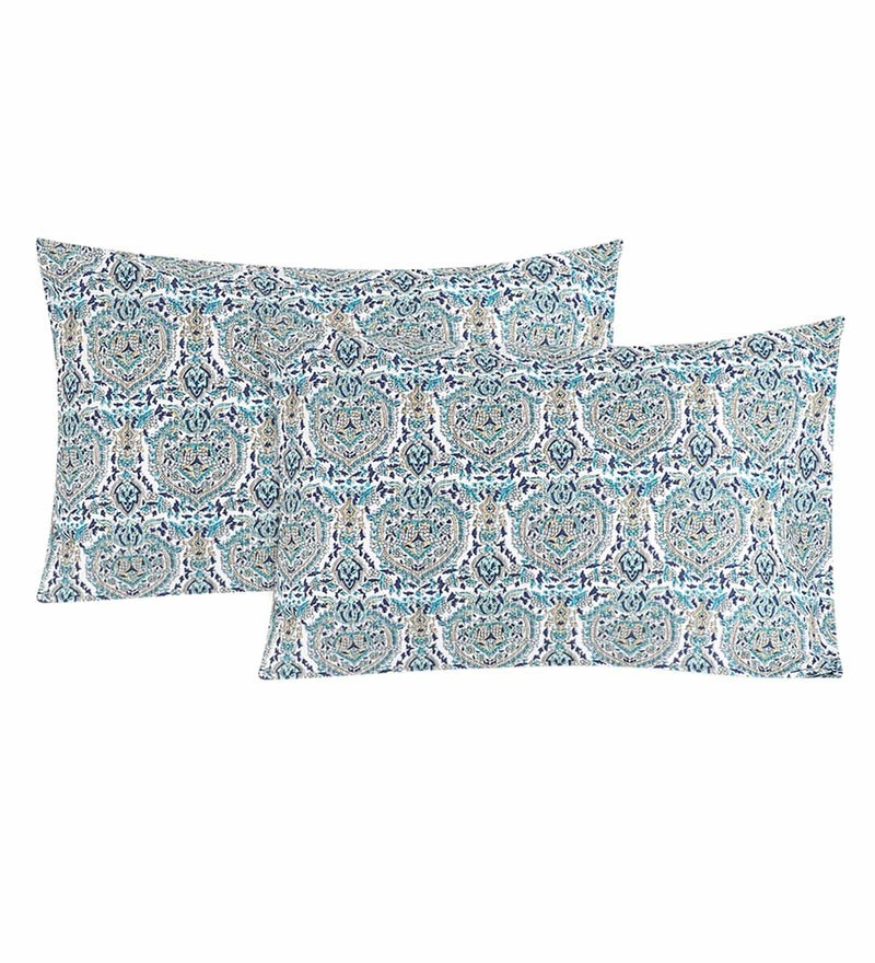 Multicolour 100% Cotton 20 x 30 Inch Printed Pillow Cover - Set of 2 by S9home by Seasons