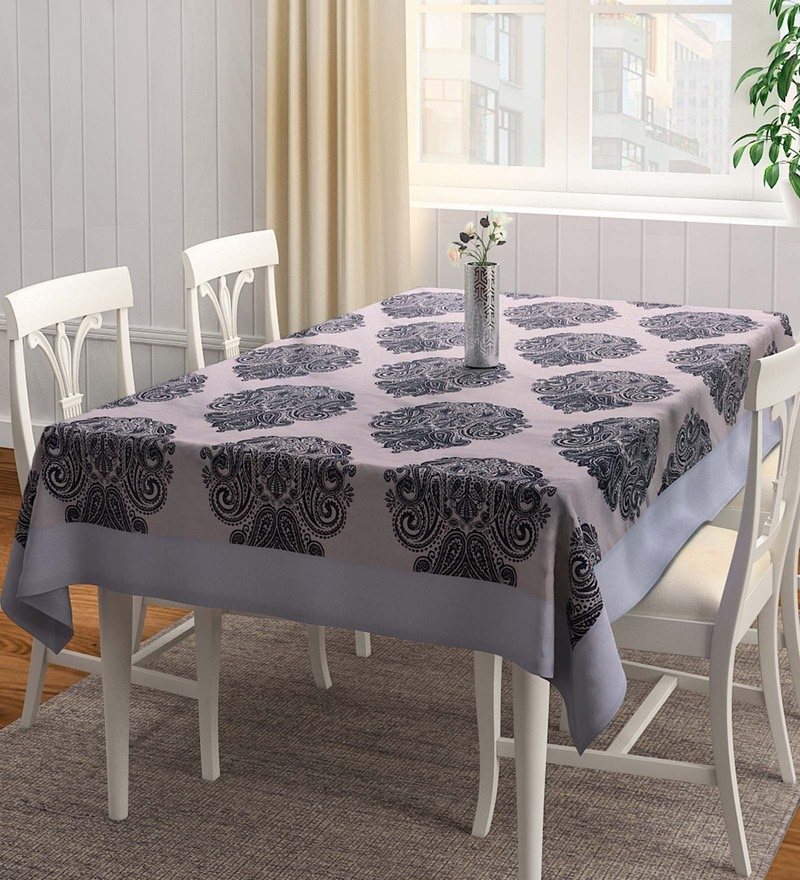 S9Home by Seasons Ethnic Matching Border Black & Grey Polyester Table Cloth
