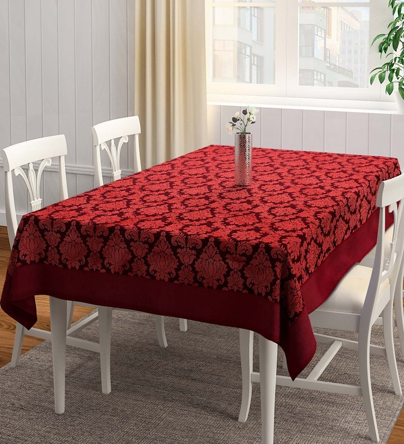 S9Home by Seasons Floral Matching Border Red Polyester Table Cloth