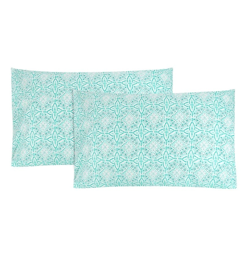 Mint & White 100% Cotton 20 x 30 Inch Printed Pillow Cover - Set of 2 by S9home by Seasons