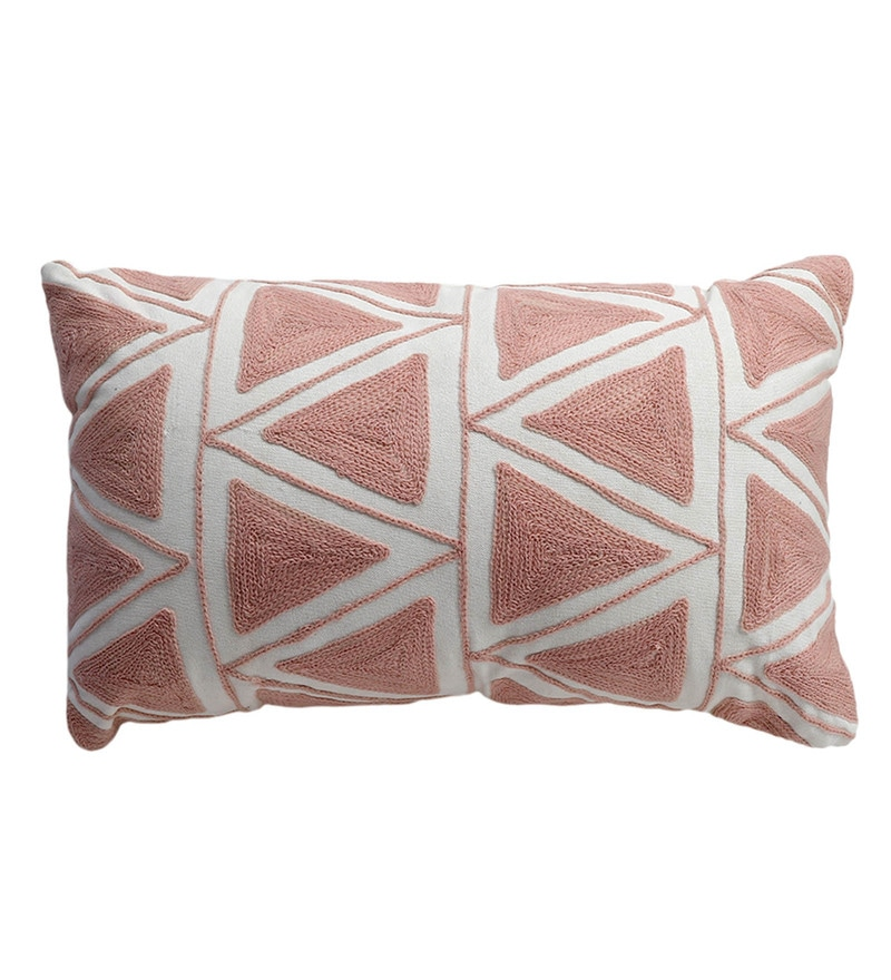 Pink Cotton 20 x 12 Inch Embroidery Pillow with Filler by S9home by Seasons