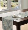 S9home by Seasons Abstract Aqua Polyester Table Runner