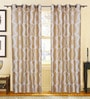 S9Home by Seasons Beige & White Polyester Solid Curtain - Set of 2