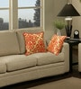 Gold & Orange Polyester 16 x 16 Inch Contemporary Cushion Cover with Piping - Set of 2 by S9home by Seasons