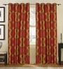 S9Home by Seasons Green & Pink Polyester Solid Curtain - Set of 2