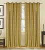 S9home by Seasons Green Polyester Abstract Window Curtain - Set of 2