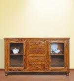 Sapphire Crockery Unit Sideboard in Natural Honey Finish