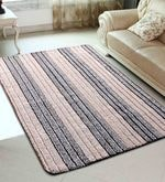 Beige & Black Microfiber 72 x 48 Inch Very Soft Tufted Area Rug