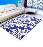 Blue Microfiber 72 x 48 Inch Unique Design Tufted Super Soft Heavy Duty Floor Area Rug