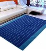 Blue Microfibre 72 x 48 Inch Soft Baby Design Tufted Floor Area Rug