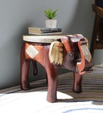 Multicolour Solid Wood Brass Fitted Stool Showpiece