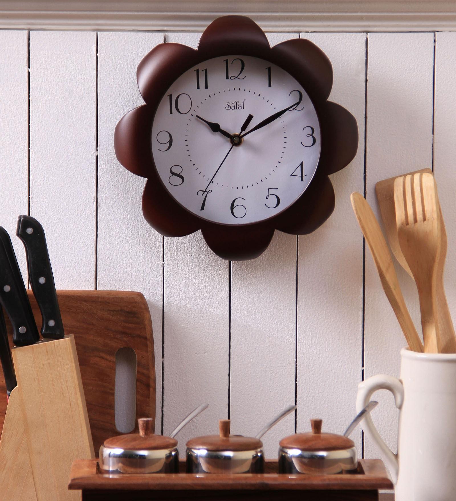 Brown MDF 9 Inch Round Sunflower Look Kitchen Beauty Wall Clock by Safal Quartz