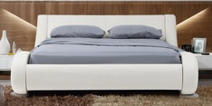 Savvy European Style Queen Size Bed in White Leatherette