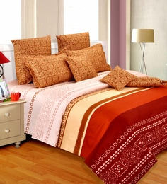 Salona Bichona Brown Cotton Abstract 98 X 86 Inch Double Bedsheet (with Pillow Covers)