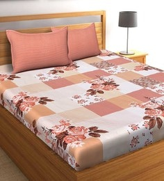 Salona Bichona Orange 100 % Cotton 87 X 98 Inch Double Bedsheet With Two Pillow Cover