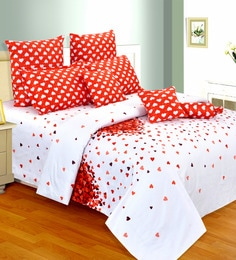 White Cotton Hearts 98 X 86 Inch Double Bedsheet (with Pillow Covers)