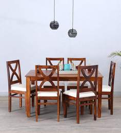 Santa Fe Six Seater Dining Set In Honey Oak Finish
