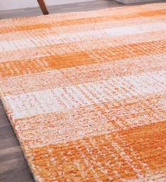 ... Santarem Geometric Pattern Wool 6 X 4 Feet Orange Hand Tufted Carpet