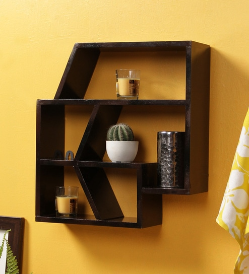 Dark Brown Mdf Hand Painted Abstract Shaped Wall Shelf By Crafts Land
