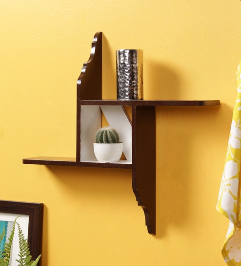 Buy Dark Brown MDF Hand Painted Modern Art Wall Shelf by Crafts Land ...