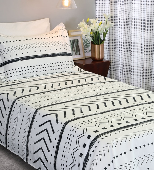 f0951b50be Sadie 210 TC 100% Cotton Single Bedsheet with 1 Pillow Cover by Bohemiana