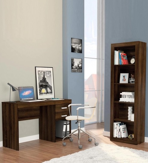 Sadiki Study Table And Book Shelf In Rosewood Finish By Mintwud
