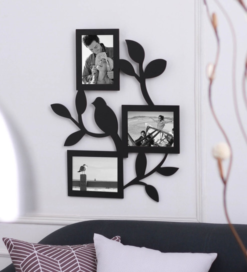 Black MDF 19 x 1 x 23 Inch Collage Photo Frame - 3 Photo Slots by Safal  Quartz