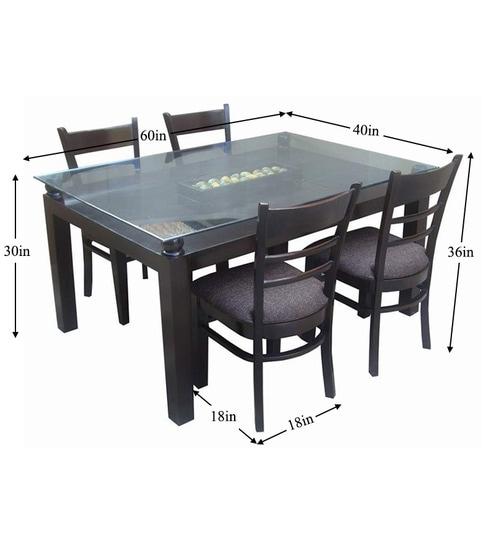 Saffron Glass Top 6 Seater Dining Table Set In Espresso Walnut
