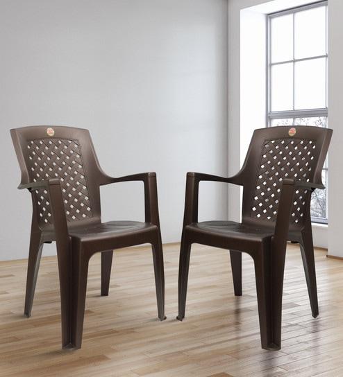 Saga Matt High Back Chair Set Of Two In Brown Colour By Cello