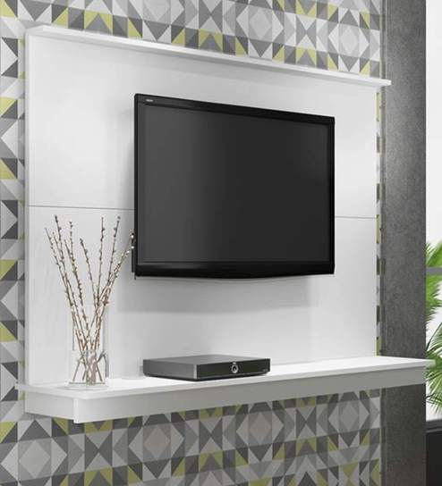 Buy Sakae Wall Mounted TV Unit in White Finish by Mintwud Online ...