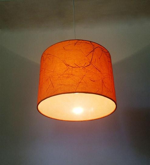 Brations Orange Cylindrical Fabric With Banana Fiber Hanging Lamp Shade