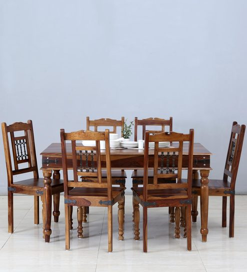 Salford Six Seater Dining Set In Provincial Teak Finish