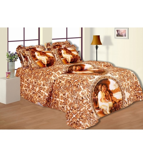 Salona Bichona Golden Rod Figure Designed Double Bedsheet With Two Pillow  Covers