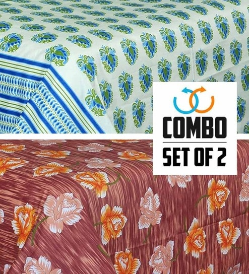 Salona Bichona Colourful Combo Poly Cotton Double Bed Sheets   Set Of 2