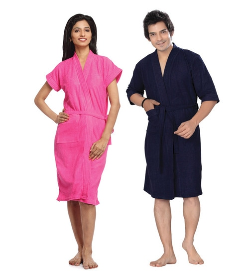 33d3c84888 Sand Dune Dark Pink and Navy Blue Bathrobe Combo by Sand Dune Online ...