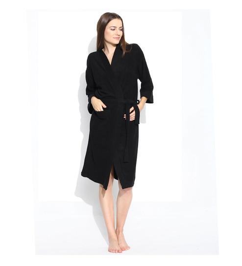 5f48e8890a Buy Black Cotton Long Sleeves Unisex Bathrobe by Sand Dune Online ...
