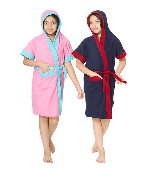 06e6032dd5 Buy Pink   Indigo 10 Year Girls Bathrobe - Set of Two by Sand Dune Online -  Kids Bath Robes - Bath Robes - Carpets   Furnishing - Pepperfry Product