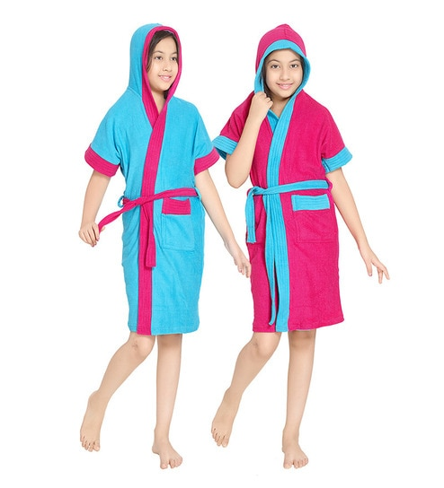 3a117b8c5f Buy Sand Dune Robe Blue   Pink Terry Cotton 30X34 INCH Kids Bath ...