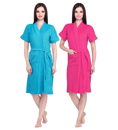 Sand Dune Turquoise   Dark Pink Bathrobe - Set of Two by Sand Dune ... 1d311f1e5