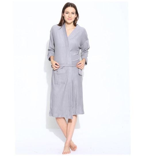 b150a179e7 Buy Sand Dune Grey Cotton Long Sleeves Unisex Bathrobe Online - Kids ...