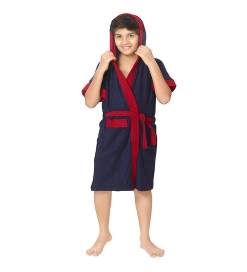 12b33d23da Buy Blue Terry Cotton Half Kids Bathrobe By Sand Dune Online - Kids ...