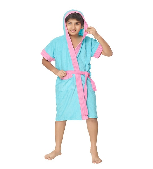 5529152752 Buy Blue Terry Cotton Half Kids Bathrobe By Sand Dune Online - Kids Bath  Robes - Bath Robes - Carpets   Furnishing - Pepperfry Product