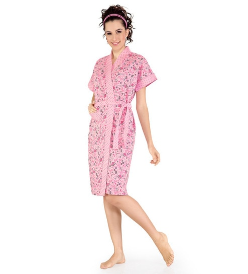 d7845e1a43 Sand Dune Pink Printed Bath Robe by Sand Dune Online - Bath Robes ...