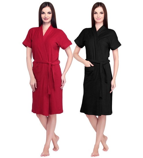Buy Red   Black Cotton Ladies Bathrobe - Set of 2 by Sand Dune ... 75187466f