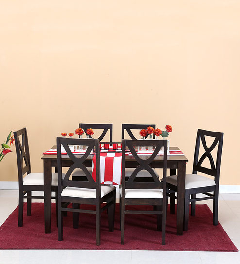 Santa Fe Six Seater Dining Set In Warm Chestnut Finish