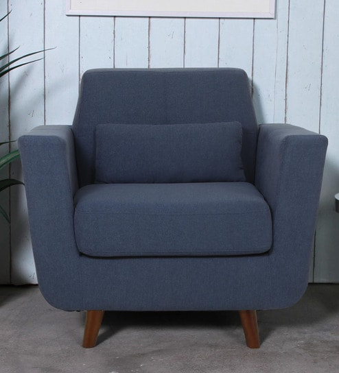 Santiago 1 Seater Sofa in Navy Blue Colour by CasaCraft
