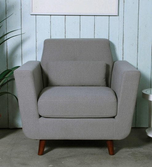 buy santiago one seater sofa in ash grey colour by casacraft online rh pepperfry com one seater sofa dimensions one seater sofa bed