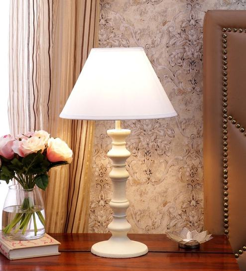 White Cotton Table Lamp By CasaCraft