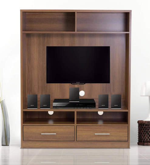 Buy Satomi Entertainment Wall Unit in Walnut Finish by Mintwud ...